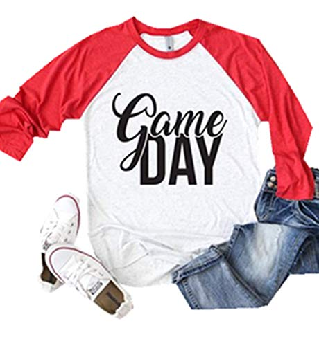 Game Day Football T-Shirt Women's 3/4 Raglan Sleeve Tops Splicing Tees Blouse (Red, (Game Day Football T-shirt)