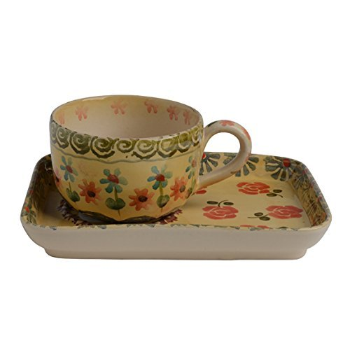 - Festa Dinnerware – Teacup and Rectangular Sauce w/Floral Art Design - Festive Dinnerware made of Italian Dinnerware Set of Flowery Hand Painted Ceramic