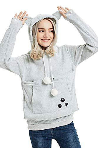 Shilanmei Womens Big Kangaroo Pouch Hoodie Little Pet Dog Cat Carrier Sweatshirts Gray L