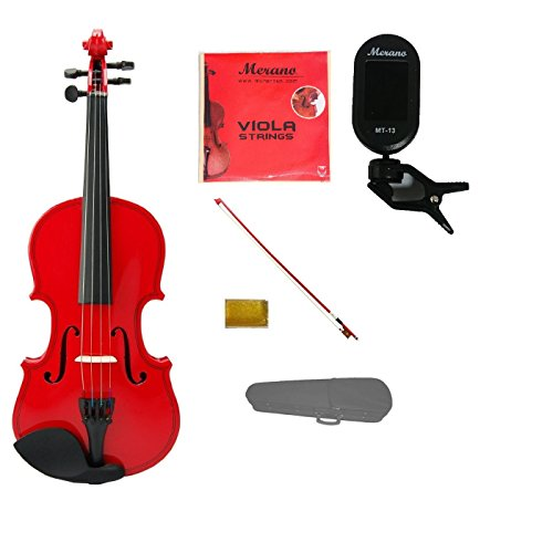 Merano Student 15 inch RED Viola with RED Stick Bow+Case+Extra Set of Strings+Rosin+Clip-on Tuner by Merano