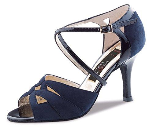 Nueva Epoca-Tango/Salsa Femme Chaussures de Danse Rosita-Suède Marine-6cm
