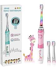 Seago SGEK6 Elektrische tandenborstel voor kinderen, voor 3-12 jaar, met intelligente timer en led-verlichting in kleur en 2 sonikkoppen voor kinderen, jongens en meisjes, roze