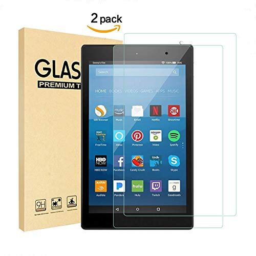 [2 Pack]HVSpring Fire HD 8 Screen Protector, Anti Fingerprint HD Ultra Clear shatterproof Easy to install,Fire HD 8 tablet Tempered Glass Screen Protector film [Bubble-Free][Sensitivity Touch][9 H]