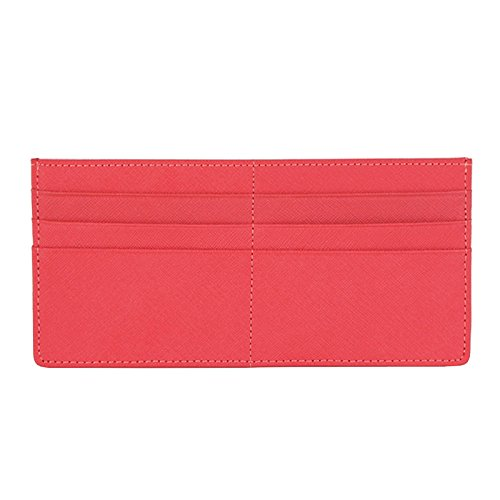 Women's Credit Card Slim Leather Wallet Zipper Pocket Purse for Clutch Bag Peach Pink (Zipper Slim)