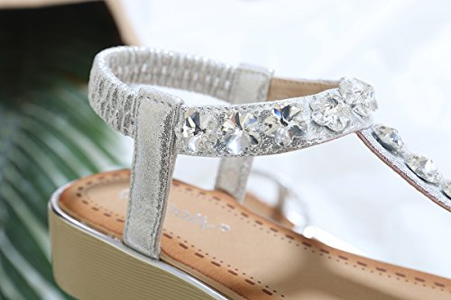 uBeauty Women's Bohemia Sandals Comfortable Leather Slippers Soft Non-Slip Thong Sandals Sexy Beautiful Summer Shoes Diamond-silver i3XEbR