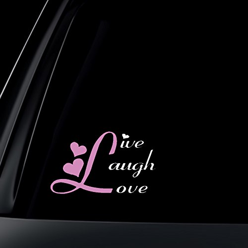 Live Laugh Love Car Decal / Sticker - White & Light Pink (Live Car)