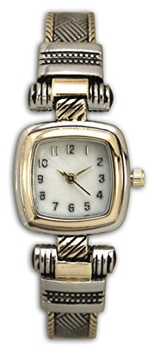 Fashion Watch Wholesale Ladies Western Design Metal Bangle/Cuff Watch with Square Face (Two Tone) (Two Tone Cuff)