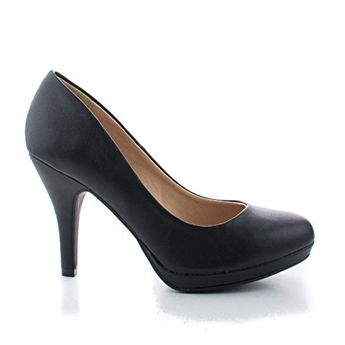 Round Toe Extra Cushioned Comfort Classic Dress Work Pumps (10 M US, Black PU)