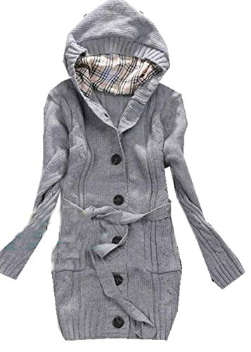 Women Hooded Cable Knit Cardigans Novelty Sweaters Button Down Outwear Warm Coat with Pockets (size S)