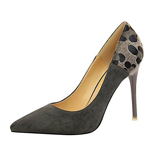 Xue Qiqi Tipp High Heels Mädchen schlankes Print und elegantes Leopard Print schlankes Paste gefärbt Satin flachen Mund einzelne Schuhe Grau 9b7e8b