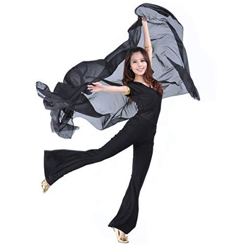 - SHOWYOU 250x120cm 9 Colors 100% Chiffon Scarf Belly Dance Scarf Throwing Yarn Scarf Prop (Black)