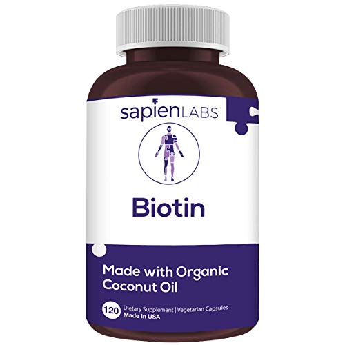Biotin - Made in USA - 10,000mcg Coconut Oil – Premium Vegetarian Supplement by Sapien Labs (120 Pill Count)