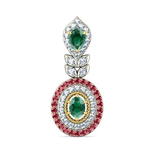 18K Or Blanc 0,42CT TW Round-cut-diamond (IJ | SI) et rubis et émeraude Boucles d'oreille