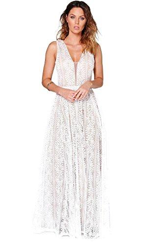 Weiß Damen Boutique Ali All Lace Plunge Hals Maxi Kleid M hO8ngLtAX ...