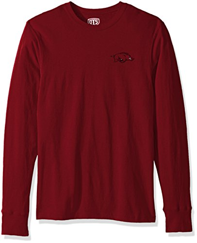 NCAA Arkansas Razorbacks Men's Ots Rival Long sleeve Lccb Distressed Tee, X-Large, Crimson (Alumni Tee)