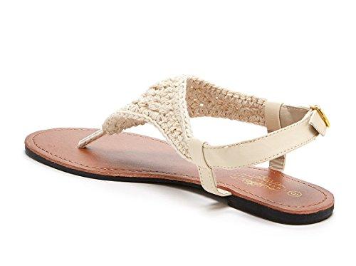 Charles Albert Femmes Bali Crochet Dentelle Sandale Plate Naturelle