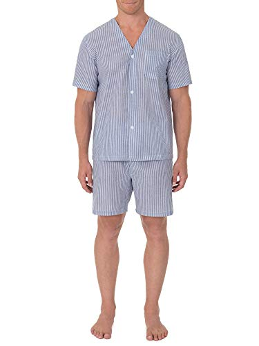 (Geoffrey Beene Men's Broadcloth Short Sleeve Knee-Length Pajama Set, Navy/White Stripe, Small)