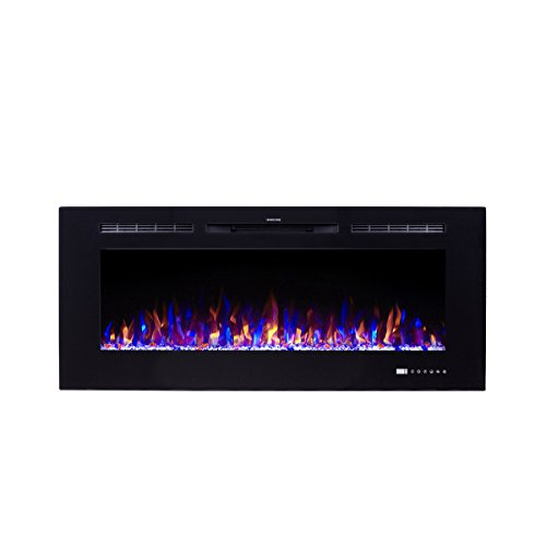 "Flameline Dannis 50"" 750W/1500W, in-Wall Recessed Electric Fireplace Heater w/Touch Screen Panel,Black"