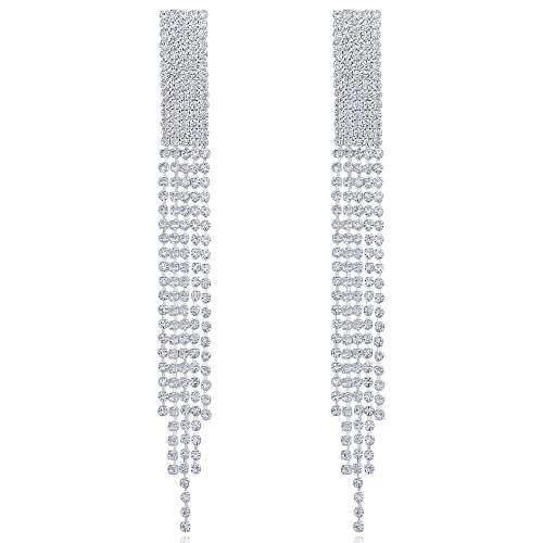 - Long Rhinestone Dangle Fringe Tassel Earrings Alloy Silver Crystal Chain Chandelier Earrings for Women
