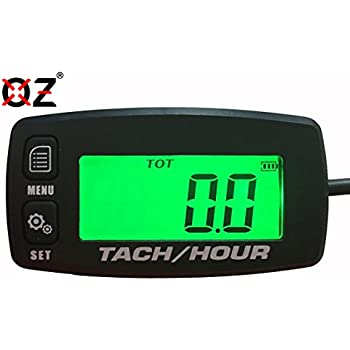 OZ-USA Tach Hour Meter tachometer RPM backlit display motorcycle atv  dirtbike buggy outboard mototcycle boat works with all gas powered engines