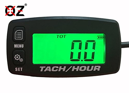 Tach Hour Meter tachometer RPM backlit display OZ-USA® motorcycle atv dirtbike buggy outboard mototcycle boat works with all gas powered engines (Outboard Motor Battery Cables)