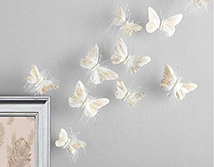 Elegant Inspired By Jewel Butterfly Wall Decorations Premium Quality Real Feather  3D Wall Decals Girls Bedroom  