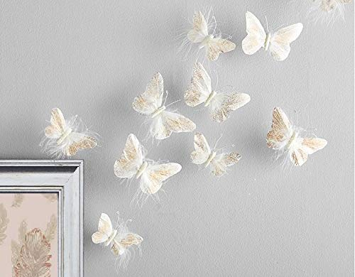 Inspired by Jewel Butterfly Wall Decorations Premium Quality Real Feather 3D Wall Decals Girls Bedroom | Stunning Gold Glitter Decor Stickers All Rooms & Nursery Sets | 10 Adhesive Pieces ()