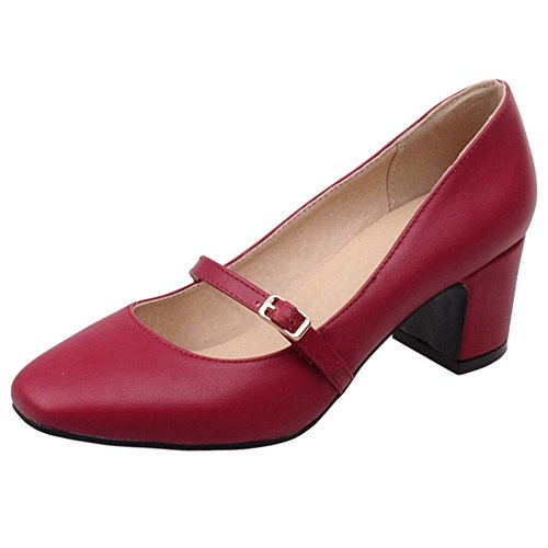 COOLCEPT Women's Fashion Mary Janes Block Mid Heel Work Court Shoes Red