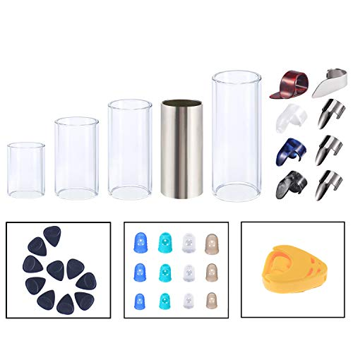 Guitar Slides Set Glass Slide Stainless Steel Slide 8 Pcs Thumb Finger Picks 10 Pcs Guitar Picks 12 Pcs Finger Protectors with Box Gift for Guitar Bass Ukulele Banjo Player (Model: B)