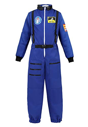 Kids Astronaut Costume Role Play Set for Boys Girls Toddlers Teens Spaceman Jumpsuit Space Suit Dress up Blue 2XL]()