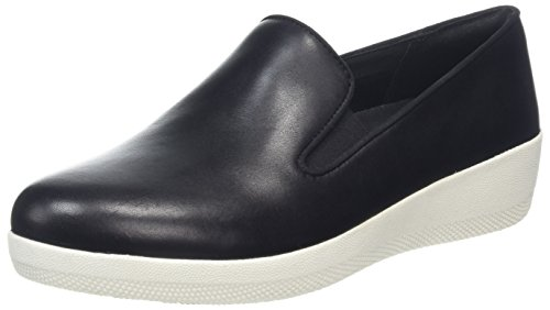 (FitFlop Women's Superskate Leather Skater Loafers Shoes Black Size)