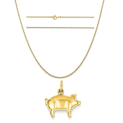 14k Yellow Gold Pig Charm on a 14K Yellow Gold Carded Rope Chain Necklace, 18