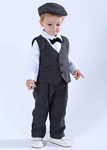 mintgreen 3pcs Baby Junge Anzug Set Gentleman Overall /& Weste Mantel /& Baskenm/ützen mit Fliege und Hosentr/ägern 3-18 Monate