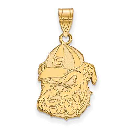(10k Yellow Gold University of Georgia Bulldogs School Mascot Head Pendant 21x15mm)