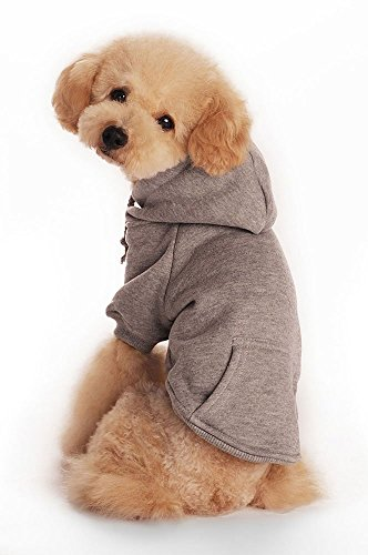 (TOPSOSO Fashion Shop Pet Coat Polyester/Cotton Basic Dog Hoodie,Dog Jacket,Dog Fleece for Young Dog and Large Dog,6 Sizes avaiable and 4 Color for Choose (Gray, L (Back 13