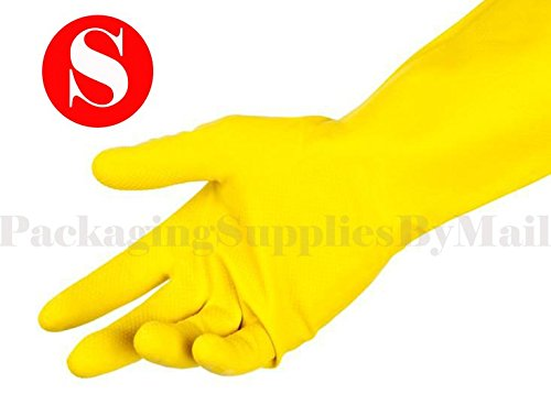 Anti-Slip Diamond Grip Pattern Yellow Flocklined Latex Household Gloves by ''PSBM'' Size: Small 12 DZ by SHIELD GLOVES