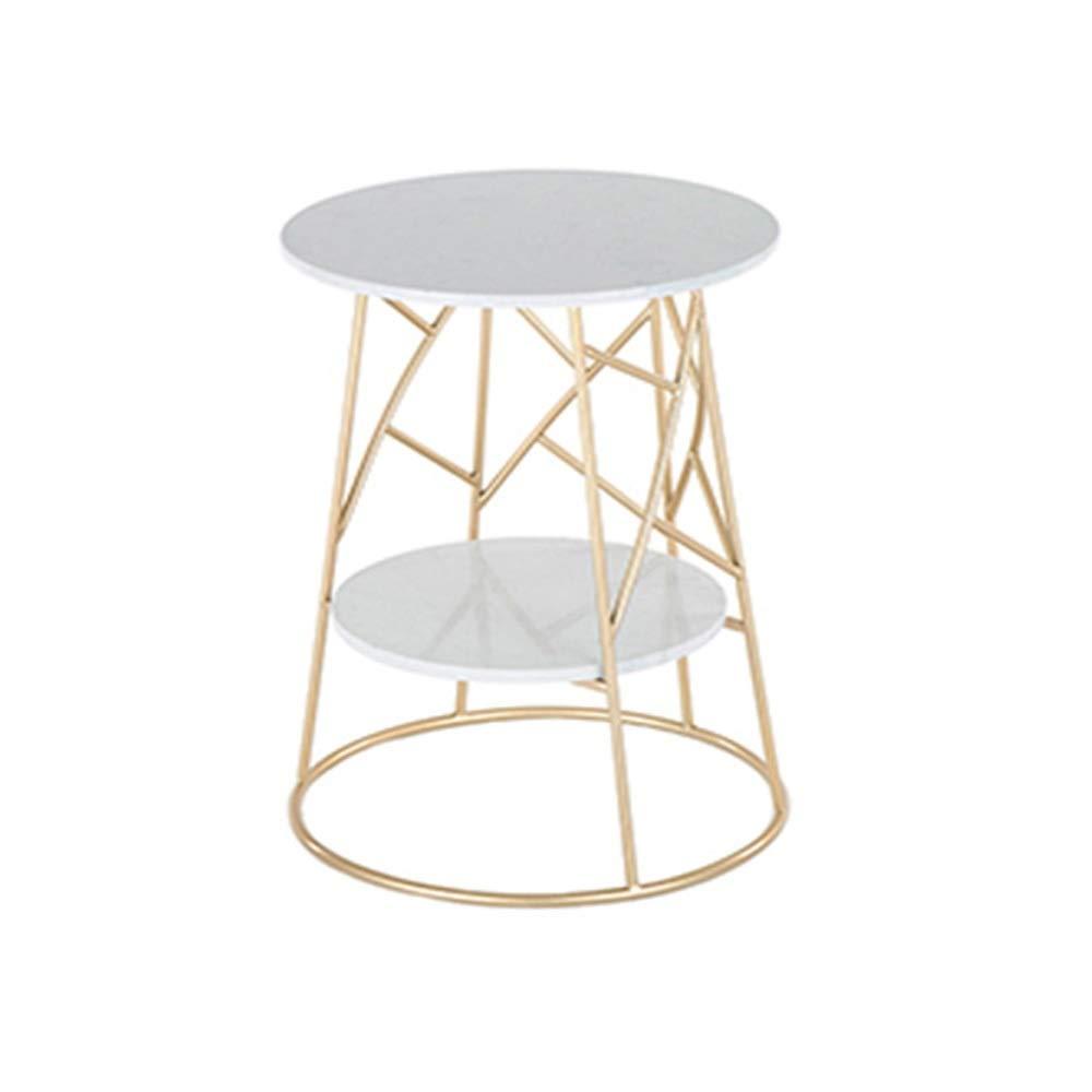 HAIZHEN サイドテーブル 現代ののどの大理石のコーヒーテーブル小さなスペース金属ベッドサイドキャビネットのための2層のリビングルームのエンドテーブル (色 : B2-Gold) B07S8X1VJR B2-Gold