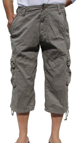 Mens Light Grey Cargo Capri Shorts #27CA/28CA Size (Mens Capri Pants)
