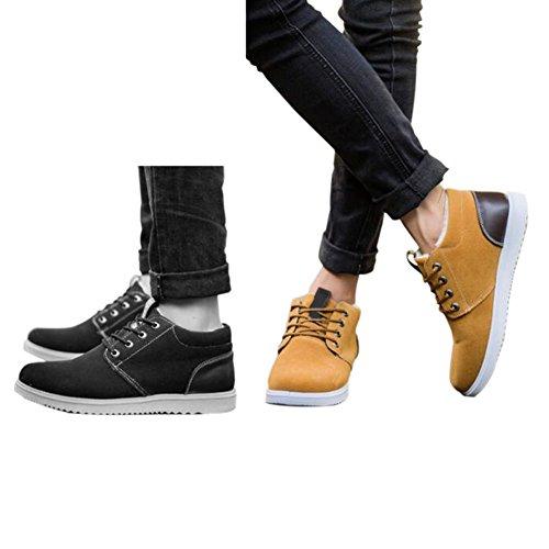 Hzjundasi Männer Winter Casual Sportschuhe Warme Pelzfutter Outdoor Sneaker Fashion Lace Up Atmungsaktive Flache Stiefel Schwarz