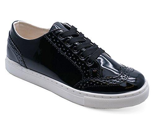3 Størrelsene Patent Loafers Damer Umerkede Plimsolls Brogue Sko Flats Trenere Pumper 8 Sorte PqHxFwvZ