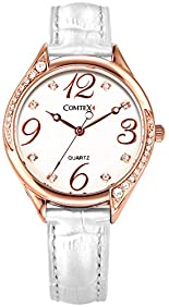 Comtex Women's Quartz Fashion Watch with White Leather Strap Rose Gold Case