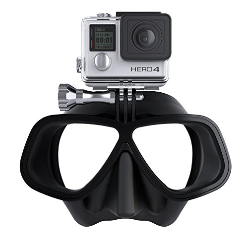 OCTOMASK - Compatible with Gopro - Dive Mask for Scuba and Snorkeling - Black (Go Pro Hero 4 Dive Mask)