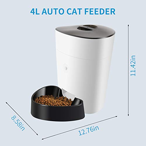 ELS PET 4L Automatic Cat Feeder/Auto Cat Dry Food Dispenser, 2 Power Supply Modes/Voice Recorder/Programmable Timer for 1-8 Meals per Day/Portion Control, Max 15 Portion per Meal, Each About 15g