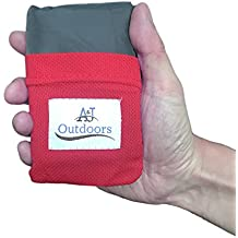 ANJ Outdoors The Most Compact Pocket Beach Blanket/Picnic Blanket for 2 or 4 People | Durable 300T Premium Rip Stop Nylon| Waterproof and Sandproof | Puncture Resistant and Anti-Tearing for Camping