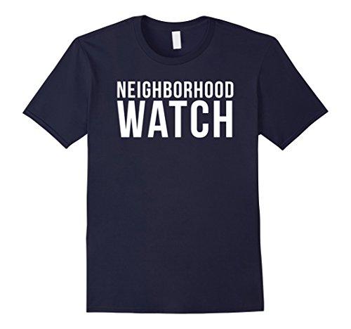 Mens Neighborhood Watch T-Shirt Security Patrols Tee Shirt Large Navy -