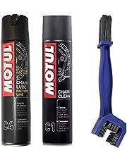 Motul C4 Reinigings- en pijnset voor kettingen, 400 ml + C1 400 ml + borstel voor het reinigen van ketting