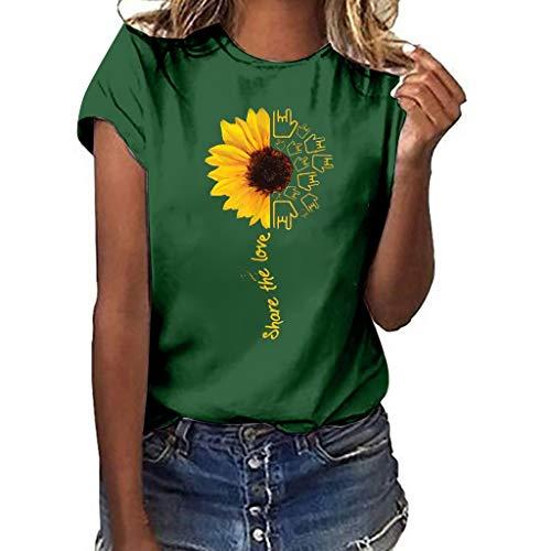 Aniywn Summer T-Shirt, Women Sunflower Print Loose Round Neck Short Sleeve Basic Blouse Tops Green