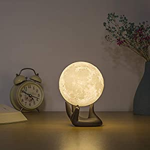 BRIGHTWORLD Moon Lamp, 3D Printing Lunar Lamp Night Light with Black Hand Stand as Kids Women Girls Gift, USB Charging Touch Control Brightness Two Tone Warm Cool White 3.5In