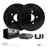 Scion iA Performance Brake Rotors - Front DFC Brake Rotors Kit - Drill/Slot - Black with Ceramic Brake Pads and Hardware