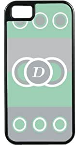 Rikki KnightTM Letter D Monogrammed Initial Mint Green - Circle Designs - Spring Fashion Colors 2014 - Black Tough-It Case Cover for iPhone5 & 5s (Double Layer case with Silicone Protection)